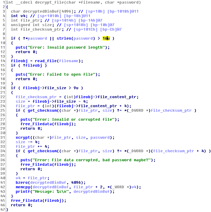Level 4 decrypt file function
